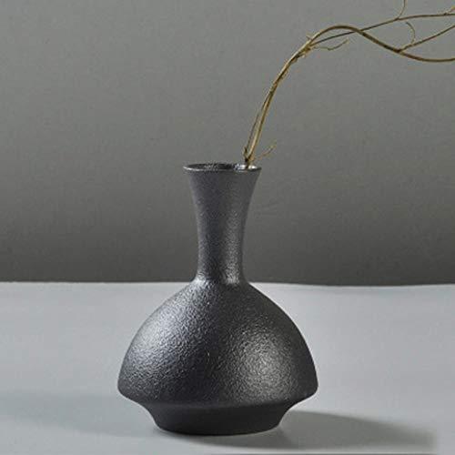 THDFV Nuevo jarrón de Plantas hidropónico, jarrón de Mesa de cerámica Negra, japoneses japoneses para Flores secas Flores Frescas, florero de decoración para el hogar Vase 3