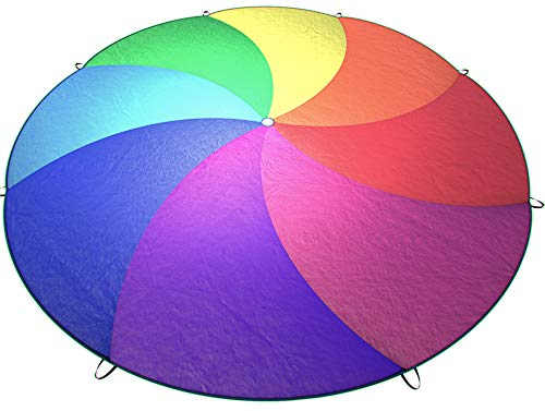 Little Dynamo | Rainbow Play Parachute for Kids (12ft with 8 Colors) | Durable Handles and Carry Case | Indoor and Outdoor Party Games | Montessori and Gross Motor Skills Toys for Toddlers