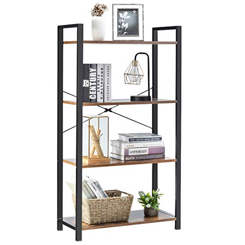 Giantex 4-Tier Industrial Bookshelf, Vintage Bookcase with Metal Frame, Standing Shelf Unit, Storage Shelves, Book Shelf for Living Room, Bedroom, Office, Brown