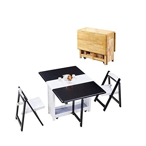 JIADUOBAO Juego de mesa de comedor plegable de 1,35 m, 2 sillas, diseño de mariposas, madera maciza, color negro y blanco