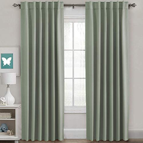 Blackout Curtains Thermal Insulated Window Treatment Panels Room Darkening Blackout Drapes for Living Room Back Tab/Rod Pocket Bedroom Draperies, 52 x 84 Inch, Sage, 2 Panels