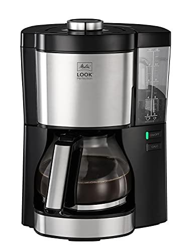Melitta Look Perfection 1025-06 Filterkaffeemaschine mit Glaskanne, abnehmbaren Wassertank und Entkalkungsprogramm (schwarz), Kunststoff, 1.25 liters