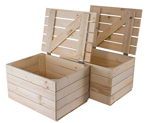 Helle Natur Holztruhe 49cm x 36cm x 29cm Obstkisten Weinkiste Truhe unbehandelt Vintage Look Landhaus Wohnzimmer Schatztruhe Kiste aus Holz - 2