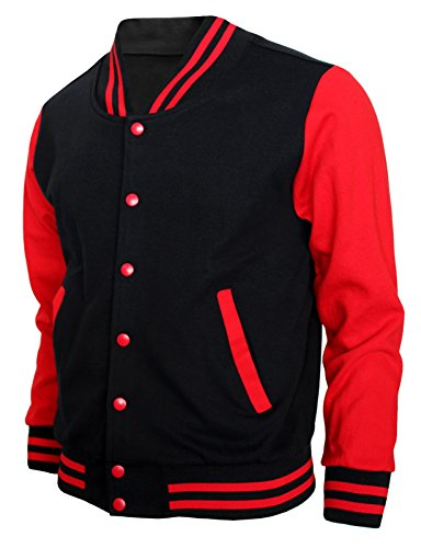 BCPOLO Baseball Jacket Varsity Baseball Cotton Jacket Letterman Jacket 8 Colors-B-R XL Black-red