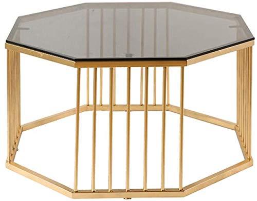 Tavolino da caffè in vetro temperato con piano in ferro battuto rotondo in metallo, tavolo creativo alla moda (dimensioni: 56 cm)