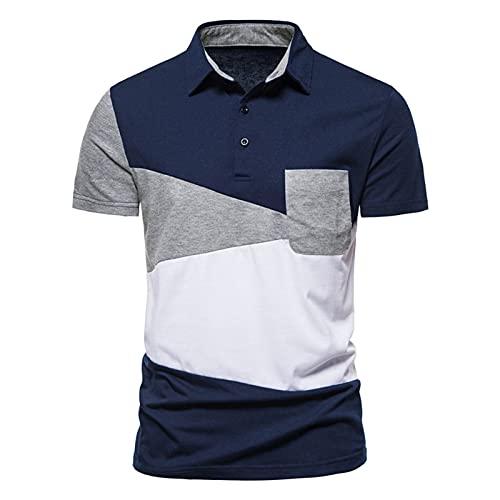 SSBZYES Camisetas para Hombre Polos para Hombre Verano Camisetas de Manga Corta para Hombre Moda para Hombre Triángulo de Color a Juego Camiseta de Manga Corta con Solapa Polos