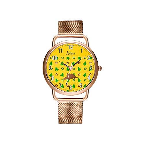 Vrouwen horloges merk dames mesh riem ultradun horloge waterdicht horloge kwartshorloge Kerstmis aangepaste naam Aardvark geel kerstbomen sterren klok