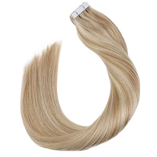Ugeat 14Pouce/35cm Tapes Extensions de Cheveux Humains Bandes Adhesives Double Face 2.5GR*20PC Ruban Adhesif Remy Hair Blonde au Caramel Mixte Blonde Blanchie