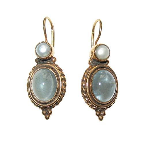 Aquamarin-Ohrringe grau-blau Süßwasser-Perle echt Haken verschließbar Silber vergoldet Retro Vintage Handarbeit Unikat Italien Geschenk Luxus klassisch