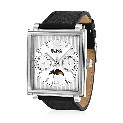 Mens Fashion Square Dial Chronograph Style Moon Phase Wrist Watch for Men Black Leather Band Silver Tone Stainless Steel