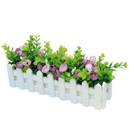 Flikool Roses Künstliche Pflanzen mit Zaun Gefälschte Künstliche Blumen mit Topf Simulation Topfpflanzen Bonsai Kunstblumen Kunstpflanzen Balkon Ornaments Dekorationen 30 * 7.5 * 17 cm - Lila