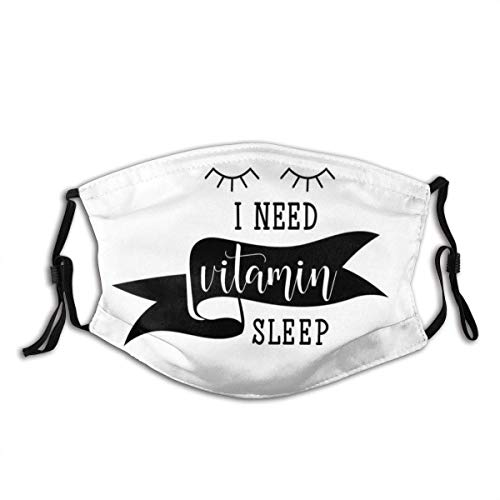 Comfortable Activated Carbon mask,Modern Calligraphy I Need Vitamin Sleep Lettering with Doodled Sleeping Eyes,Printed Facial Decorations for Adult