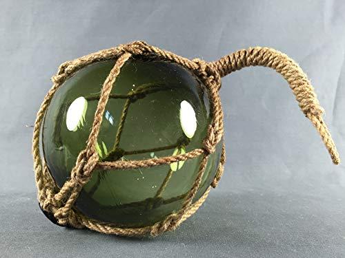 Buddel Bini Deko - Fischerkugel aus Glas Basic in grün mit Tauwerk - 13 cm Durchmesser