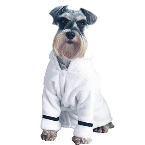 Balacoo Hund Kleidung Baumwolle Weich Hunde Pyjamas mit Verstellbarem Gürtel Schnell Trocknend Hunde Bademantel Puppy Kleidung für Hunde Katze Welpen Haustier Winter (XL)