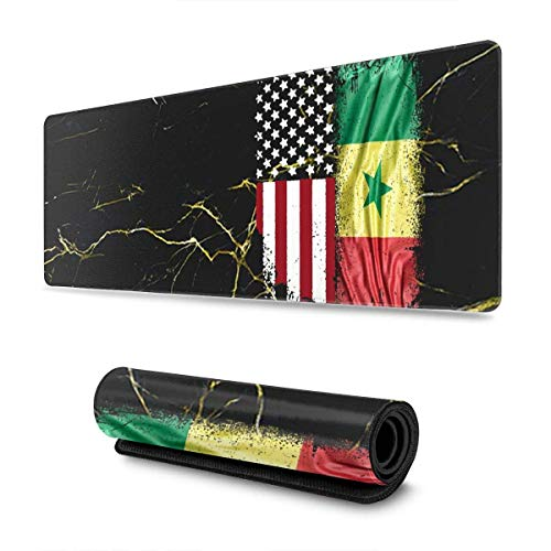 Tttyy Alfombrilla de ratón Extensible con Bandera Americana de Senegal, Alfombrilla de ratón Antideslizante, Alfombrilla de ratón para Ordenador, Alfombrilla de ratón para Juegos, 11,8x31,5 Pulgadas
