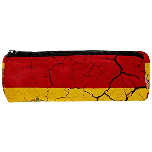 Estuche grande de gran capacidad para lápices, bandera de España con emblema grande bolsa de almacenamiento para rotuladores, bolsa de papelería simple, soporte para lápices, 19 x 7,5 x 3,8 cm