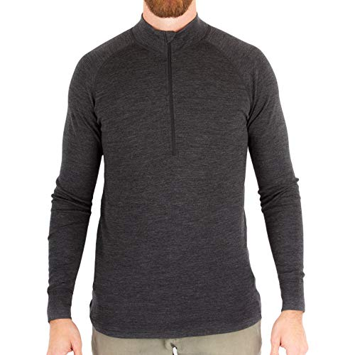 MERIWOOL Mens Base Layer 100% Merino Wool Midweight 250g Half Zip Sweater for Men Charcoal Gray