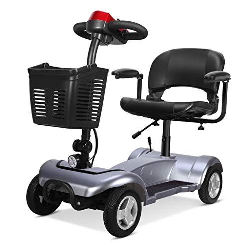 LLDS Vier Räder Scooter Elektro Erwachsene Roller Mit E Elektroroller Für Führerschein Straßenzulassung Rollstuhl Elektrischer Sitz Senioren Elektro-Moped Mobil Rollstühle Eroller,Silber