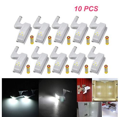 Bisagra de LED luz universal hogar cocina oficina Hotel de luz para puerta armario armario armario de interruptor automático blanco frío iluminación lámpara luz nocturna, Included Batteries, 10 unidad