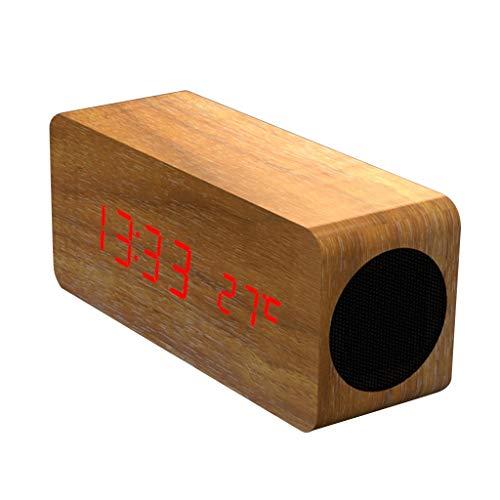 Bluetooth luidspreker, houten retro wekker TF-kaart 10 m handsfree benende draadloze subwoofer HD audio