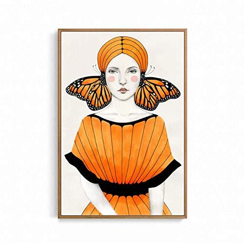 YaShengZhuangShi Estilo nórdico 30x50cm sin Marco Mariposa Chica Cartel Vintage Mujeres Pintura de Pared Lienzo imágenes Impresas para decoración de Sala de Estar