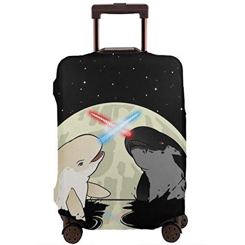 Space Laser Narwhals Whale in Moon Suitcase Protector Elastische Reisegepäckabdeckung Regenfeste Gepäckabdeckungen mit feinem Aufdruck