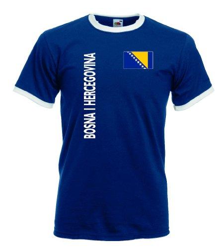 Fruit of the Loom Bosna Herzegovina Retro T-Shirt Bosnien blau Trikot r-l