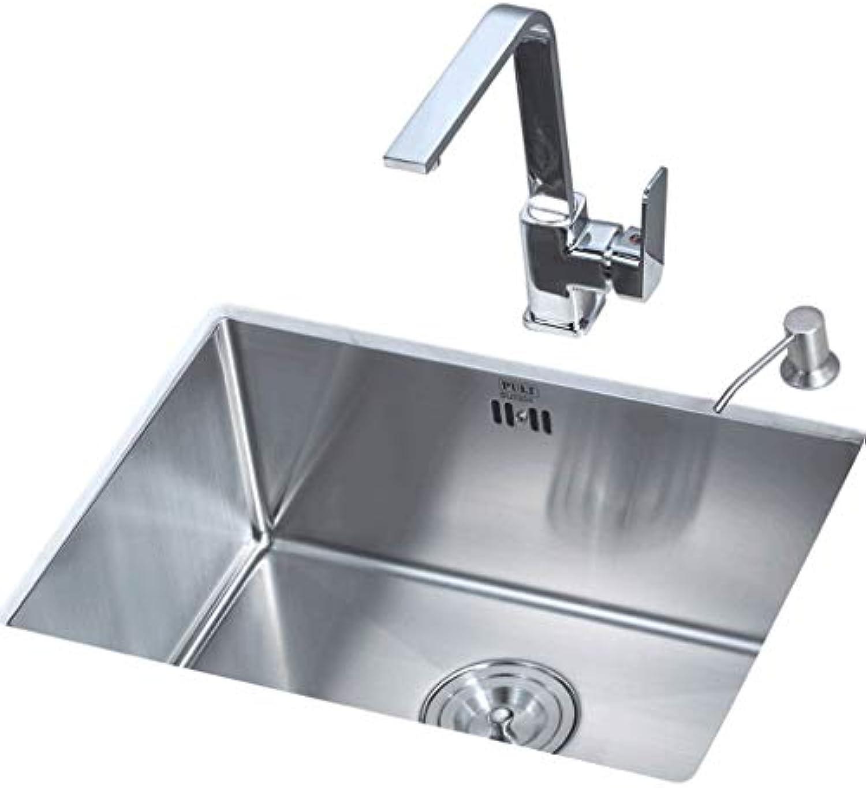 Unbekannt 1.2mm 54X39 cm Küchenhandwaschbecken mit Einzeltrog 304 Edelstahl 54X39 cm Mit Wasserhahn 0425