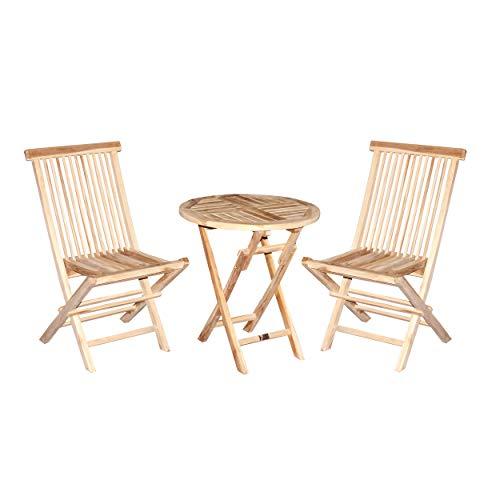 CHICREAT - Juego de muebles de balcón de tres piezas de madera de teca, silla plegable y mesa plegable redonda de Ø 60 cm de diámetro, juego bistró de tres piezas de madera de teca
