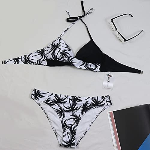 Bikini Elegante Traje de Baño Conjunto Bañador Halter Sexy Sólido para Mujer Ropa de Playa Traje de Baño Bikini Sets Talla Grande (Hojas Negras, M)