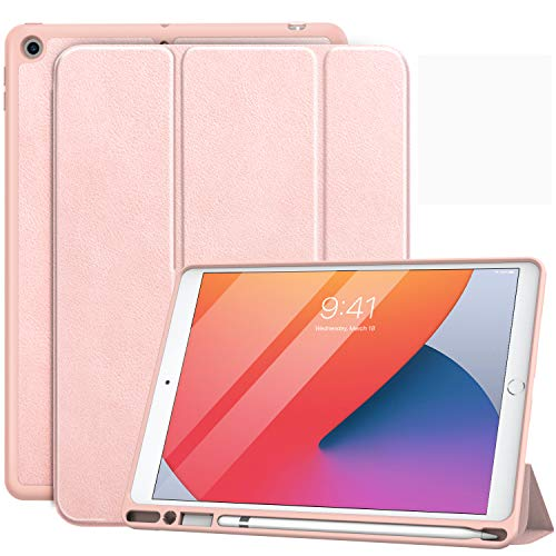 MoKo Case Fit New iPad 10.2' 2020/2019 with Apple Pencil Holder, Slim Lightweight Smart Shell Stand Cover Case Fit iPad 8th Generation 2020 / iPad 7th Generation 2019, Auto Wake/Sleep - Rose Gold