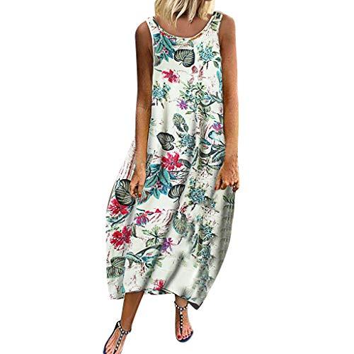 Voicry Frauen Vintage Bohemian Print Floral ärmellose O-Neck Straps Maxi-Kleid (A3_rot,EU:48/CN:5XL)
