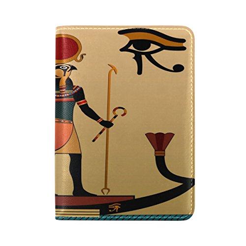 COOSUN Caso Antiguo Egipto Pasaporte de Piel Cubierta de Soporte para Viajes un Bolsillo Medio