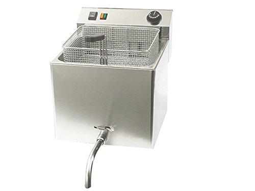 Profi Edelstahl-Fritteuse mit Ablasshahn, 10 Liter, 8100W, Thermostat bis 190°C; FE-10T GGG
