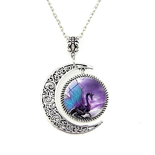 Crimyy Blue Wing Dragon Moon Necklace Dragon Pendant Necklace or Dragon Keyring Dragon Jewelry Dragon Pendant Dragon Necklace