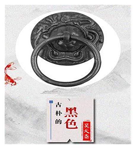 HNXCBH Aldaba para Puerta Archaize Bronce del diseño del dragón Aldaba la manija de Puerta clásica Tire platillo Anillo Ruyi Gabinete Ronda Llamador Puerta (Color : Black)