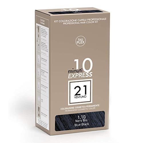 21 VENTUNO Tinta per Capelli senza Ammoniaca Professionale fai da te Copertura Capelli Bianchi in 10 minuti Senza Parabeni e Ammoniaca Colore Nero Blu 1.10 MADE IN ITALY