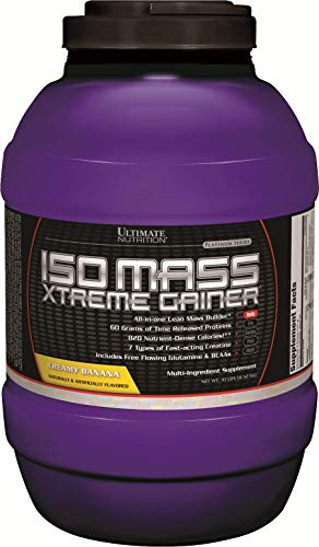 Ultimate Nutrition ISO Mass Xtreme Weight Gainer Protein Isolate Powder with Creatine - Gain Serious Lean Muscle Mass Fast with 60 Grams of Protein, Banana, 30 Servings