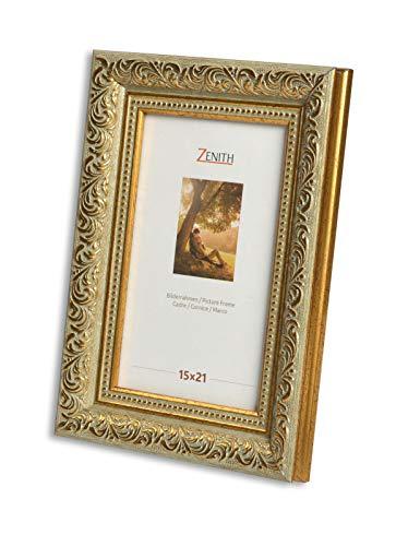 "Victor antiker Bilderrahmen ""Rubens"" grün Gold in 15x21 cm - Leiste: 30x20 mm - Echtglas - barock"