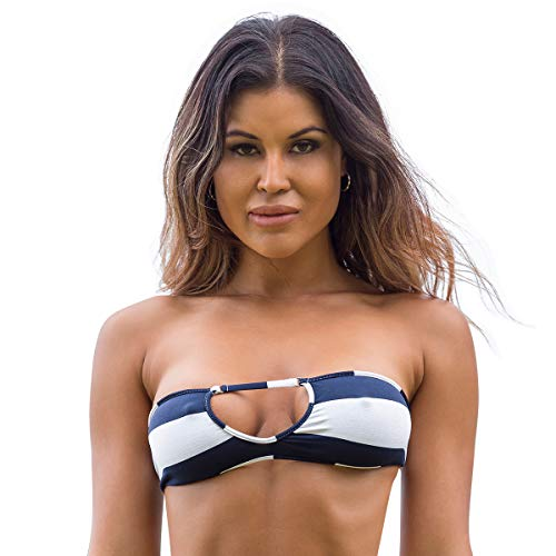 Wicked Weasel Damen Badeanzug Sexy Sailor Stripe - Cheeky Bikini Top (351) - Blau - X-Small