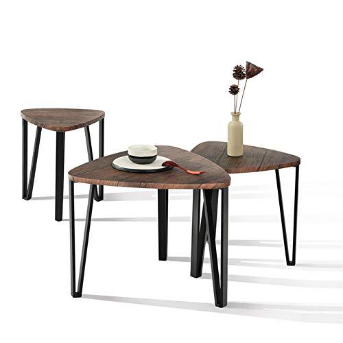 Shamdon Home Collection Beistelltisch-3er Set Kaffetisch, Dreieckig Couchtisch Satztische Moderne Sofatische für Wohnzimmer Schlafzimmer, Stabile und Einfache Montage, Hölzerne Tischplatte