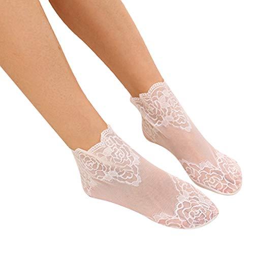 Yinew 3 Paar Lace Flower Söckchen elastische durchsichtige atmungsaktive Sommersocken für Frauen, weiß