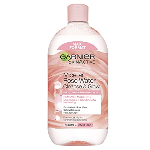 Garnier Micellar Rose Cleansing Water For Dull Skin 700ml, Glow Boosting Cleanser & Makeup Remover, Recognised By The British Skin Foundation, Use With Reusable Micellar Eco Pads