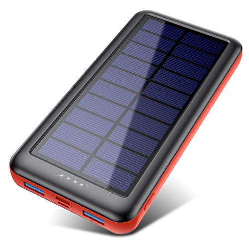 Power Bank Solare 26800Amh,QTshine[Type-C Veloce Ingressi] Caricabatterie Portatile Solare,Batteria Portatile con 2 USB Porte,Batteria Esterna Carica Veloce Batteria Portatile per Cellulare (Red)