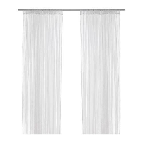 IKEA Vorhang, Netzstoff, mit Spitze, 274 x 244 cm, Weiß, 1 Paar
