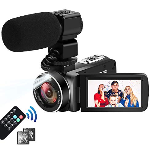 Videocamara 4K Videocámara Ultra HD 30MP 18X Zoom Digital Videocámara Videograbadora con Pantalla Táctil Cámara de Video para Youtube con Micrófono Externo, 2 Baterías