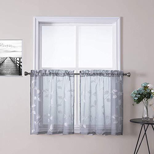 LinTimes - Cortinas bordadas con diseño de hojas, pequeñas cortinas de ventana cortas, bolsillo para barra de cortina, cortina de gasa para cocina, café, 26 x 36 pulgadas, gris, juego de 2