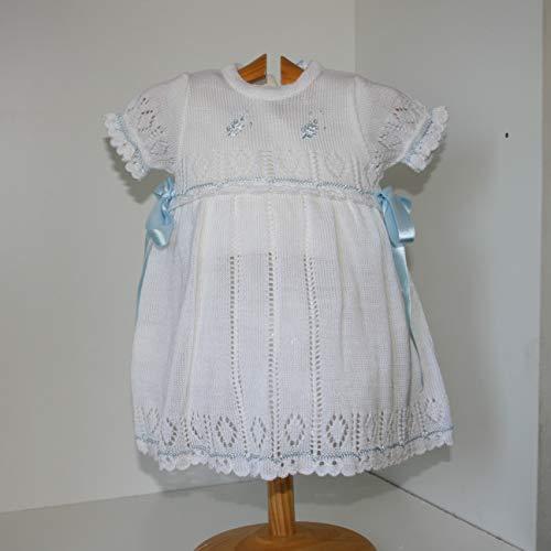 Vestido verano en punto para bebé, perlé acrílico muy fresquito color blanco celeste Talla 18 Meses
