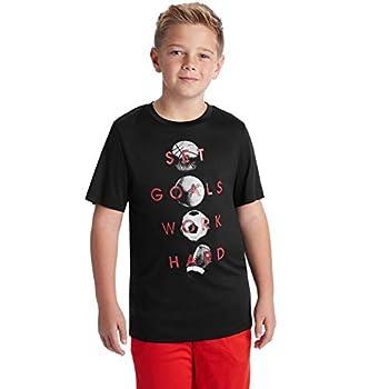 C9 Champion Boys  Tech Short Sleeve Tshirt Ebony/Set Goals Work Hard M