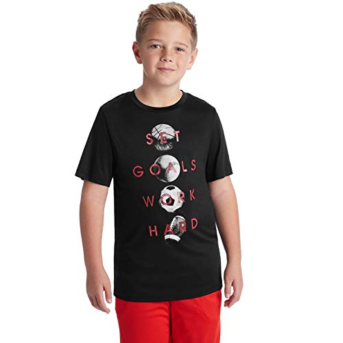 C9 Champion Boys' Tech Short Sleeve Tshirt, Ebony/Set Goals Work Hard, S